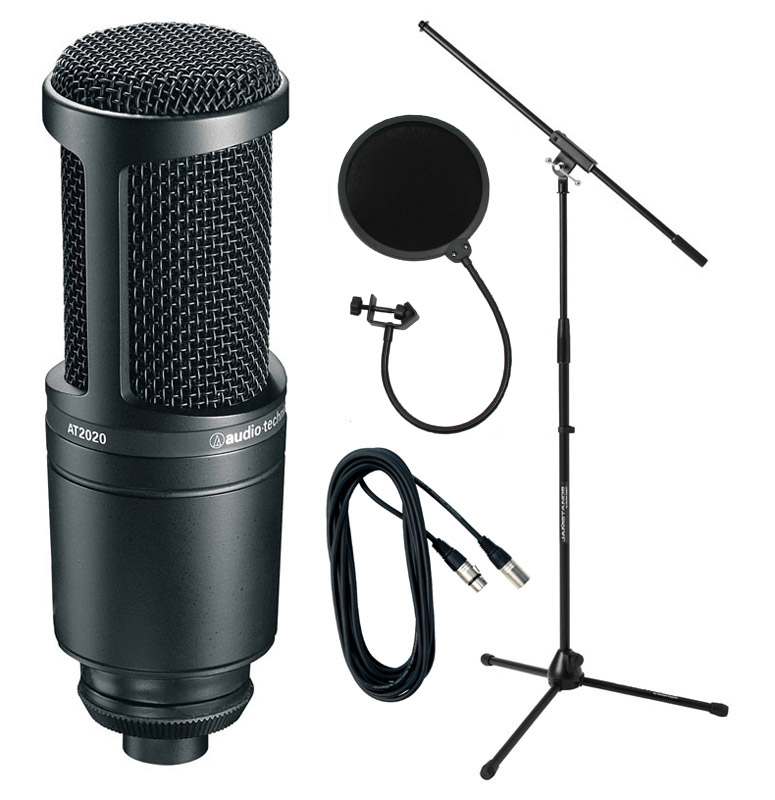 audio technica at2020 condenser mic with stand pop shield. Black Bedroom Furniture Sets. Home Design Ideas