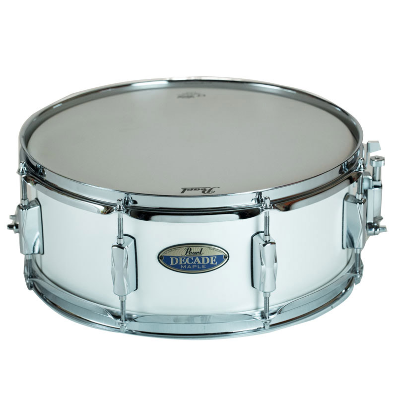 pearl 14 x 5 5 decade maple snare drum in white satin pearl ex display ebay. Black Bedroom Furniture Sets. Home Design Ideas