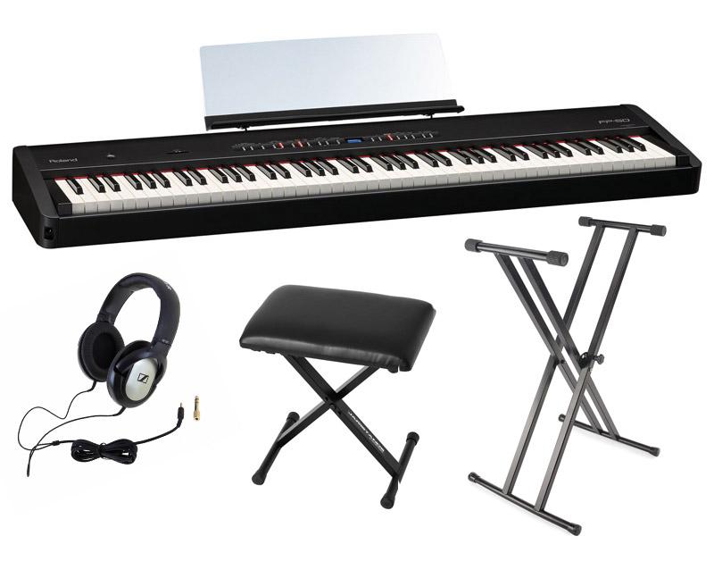 roland fp 50 piano num rique noir avec casques banc et support neuf ebay. Black Bedroom Furniture Sets. Home Design Ideas